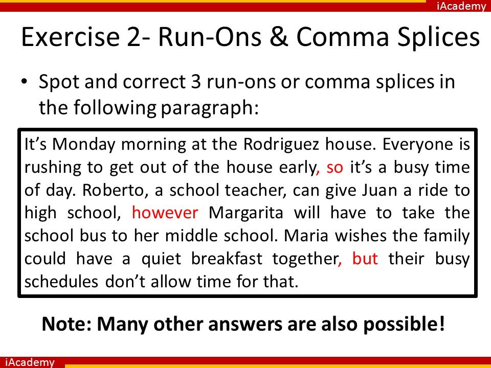 how to correct run ons