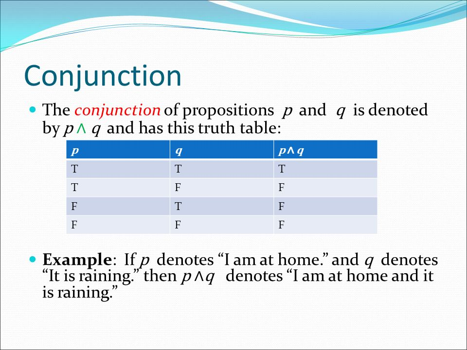 Conjunction The conjunction of propositions p and q is denoted by p ∧ q and has this truth table: