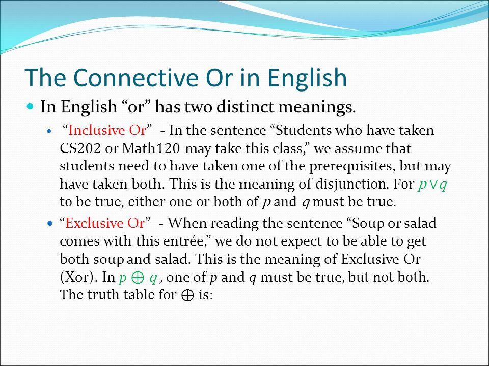 The Connective Or in English