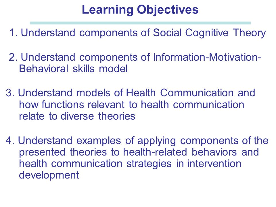 Epi 246 Social Cognitive Theory Information Motivation And