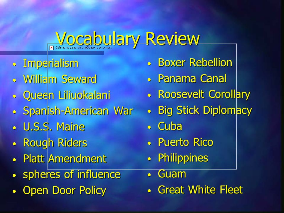 Vocabulary Review Boxer Rebellion Panama Canal Imperialism