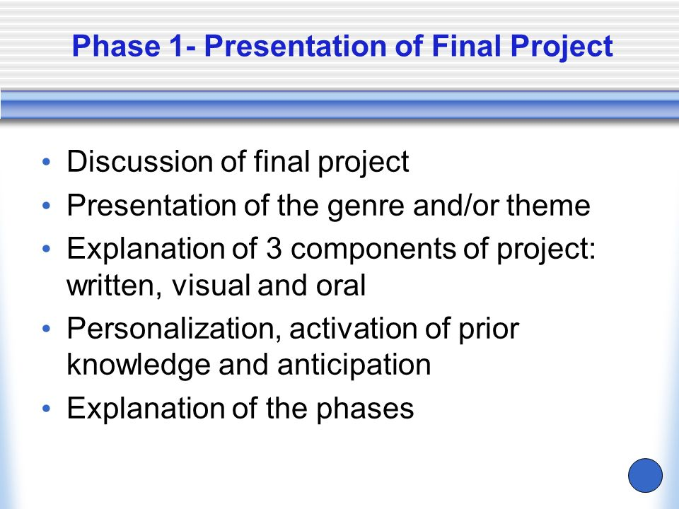 Phase 1- Presentation of Final Project
