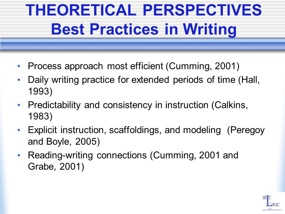 THEORETICAL PERSPECTIVES Best Practices in Writing