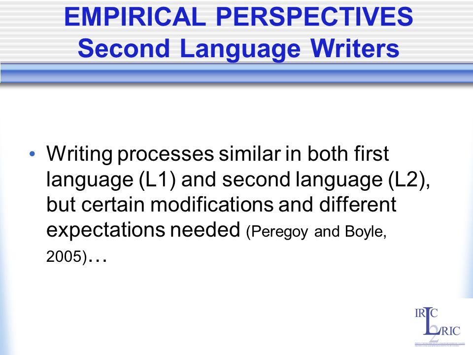 EMPIRICAL PERSPECTIVES Second Language Writers