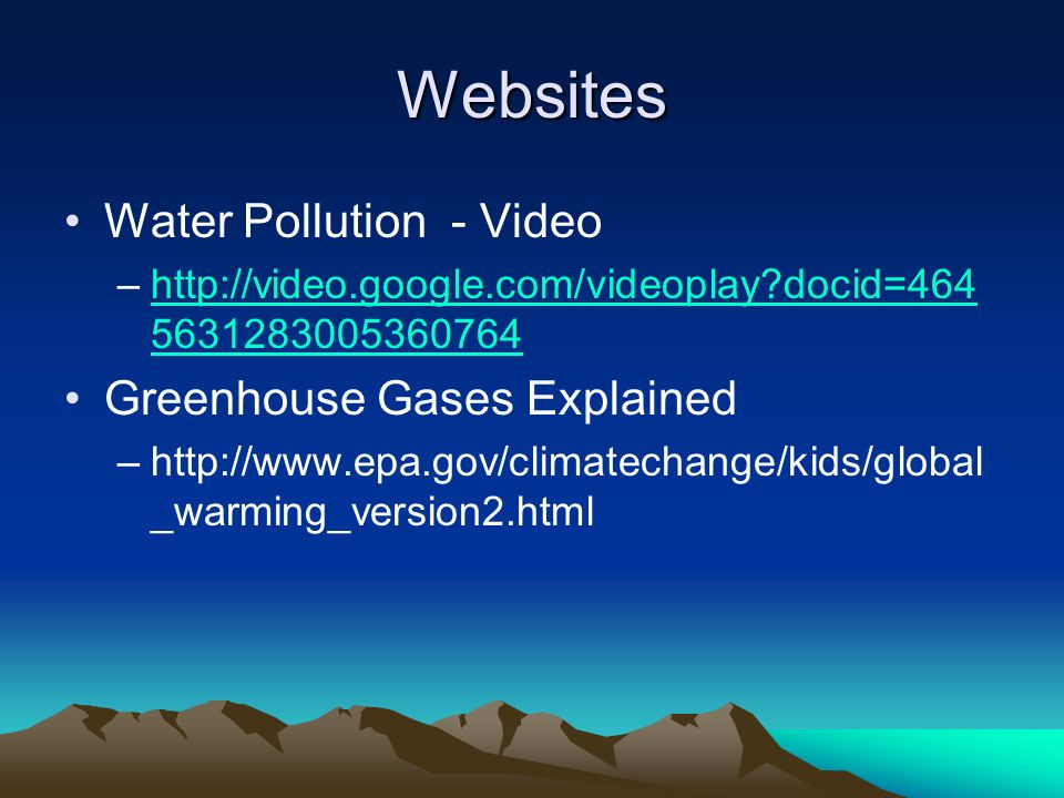 Websites Water Pollution - Video Greenhouse Gases Explained