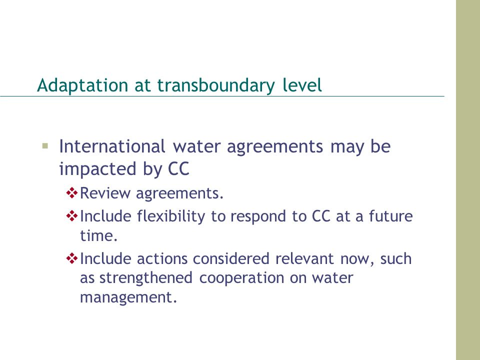 Adaptation at transboundary level