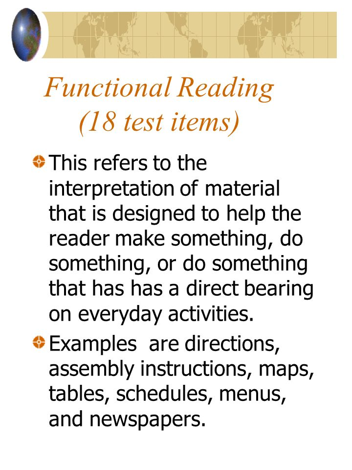 Functional Reading (18 test items)