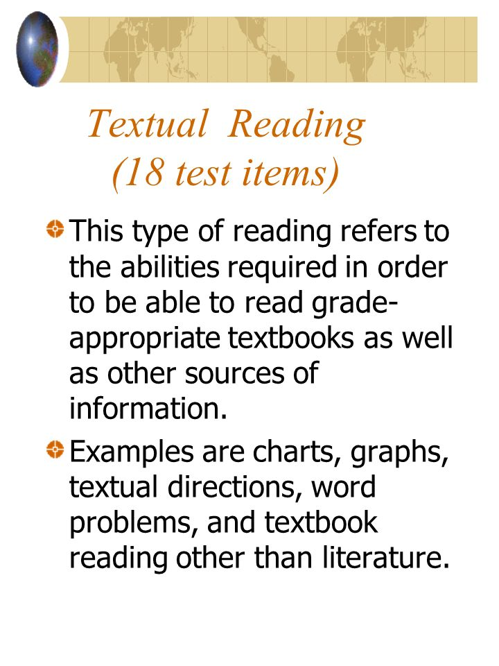 Textual Reading (18 test items)