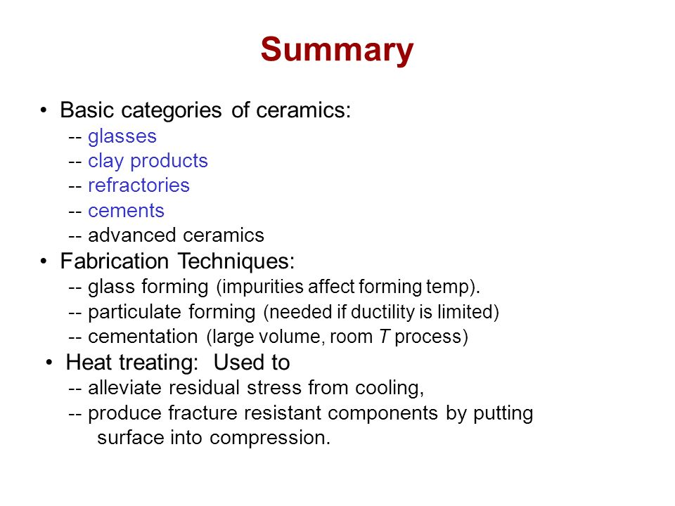 Chapter 13 Ceramics Materials Applications And