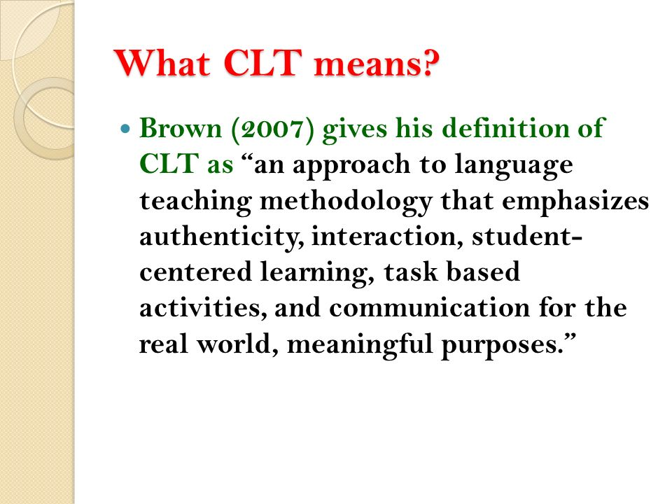 COMMUNICATIVE LANGUAGE TEACHING - ppt video online download