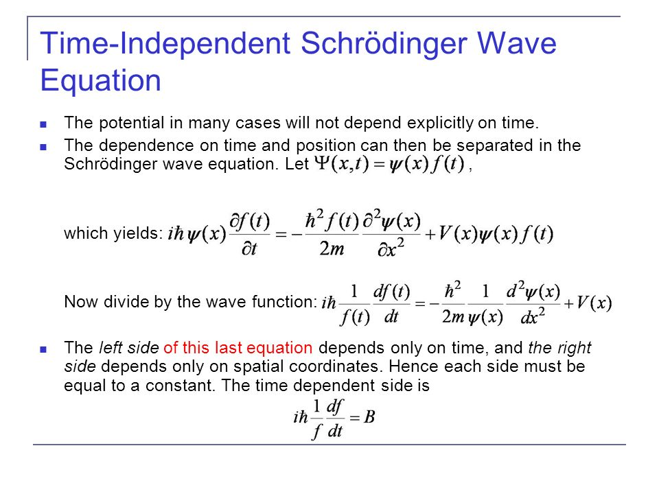 Time-Independent Schrödinger Wave Equation
