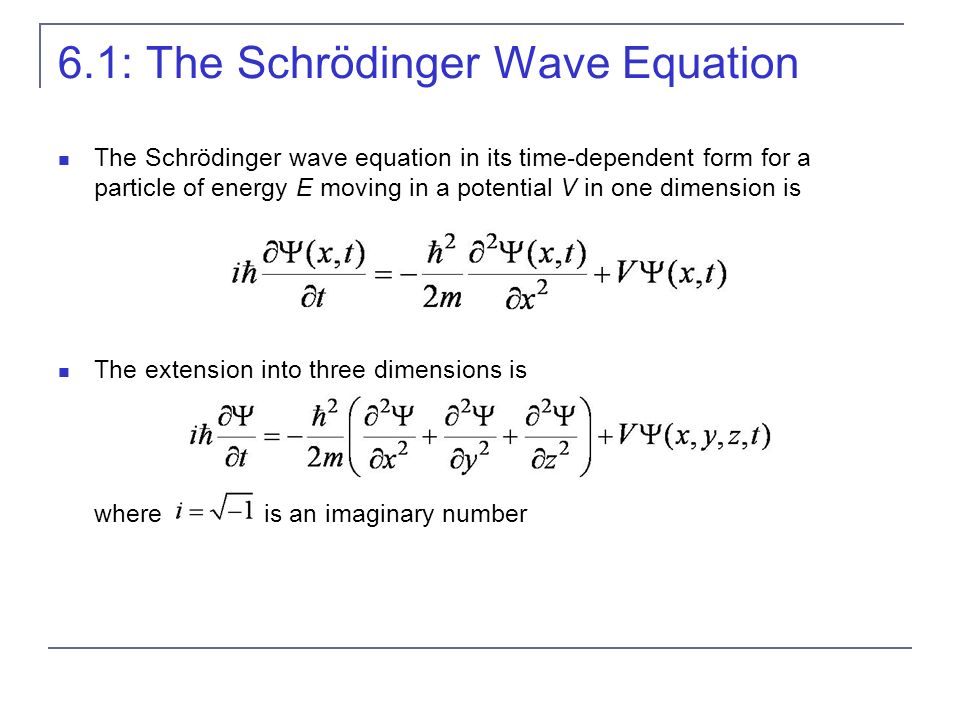 6.1: The Schrödinger Wave Equation