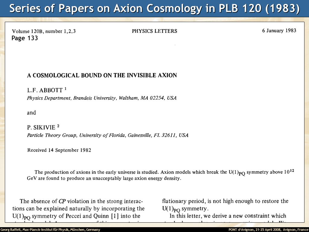 Series of Papers on Axion Cosmology in PLB 120 (1983)