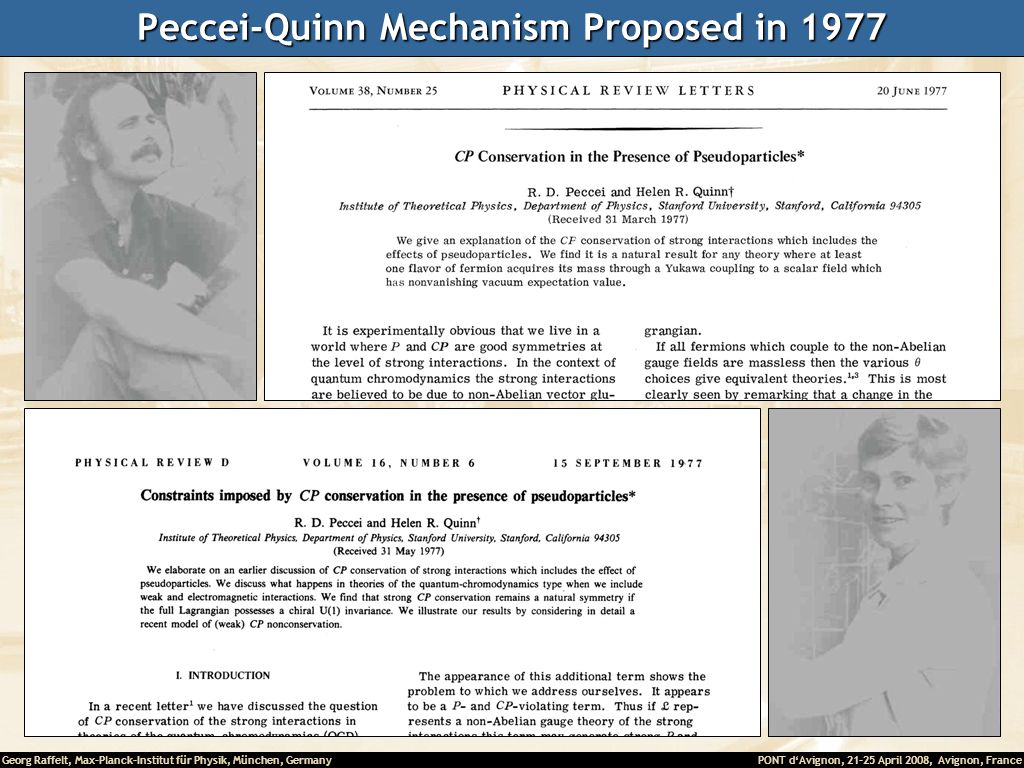 Peccei-Quinn Mechanism Proposed in 1977