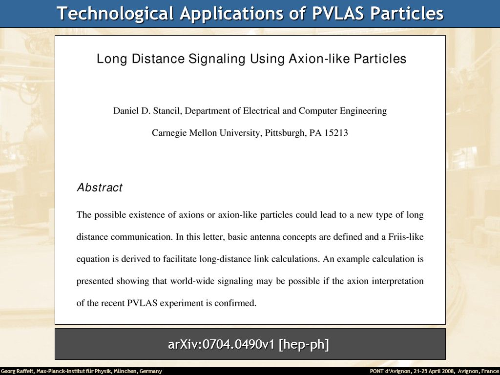 Technological Applications of PVLAS Particles