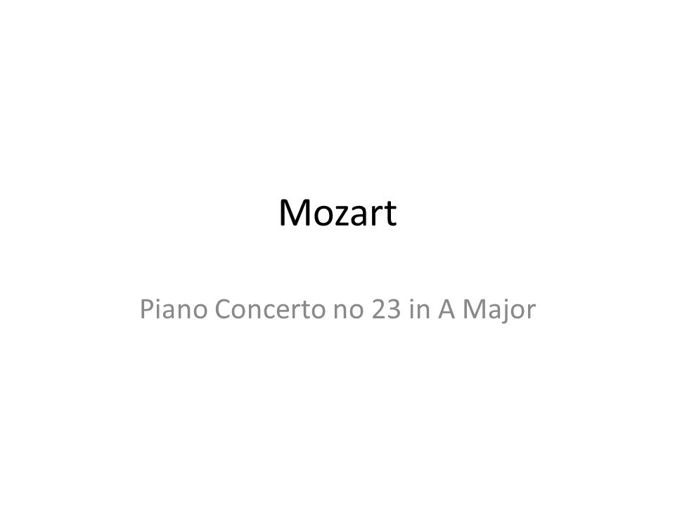 Piano Concerto no 23 in A Major