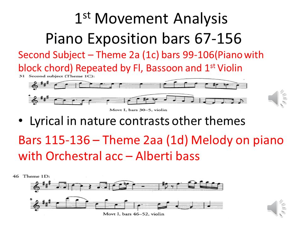 1st Movement Analysis Piano Exposition bars