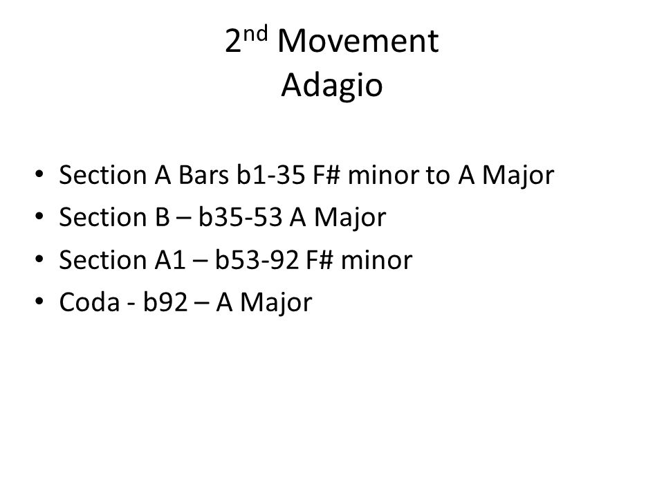 2nd Movement Adagio Section A Bars b1-35 F# minor to A Major
