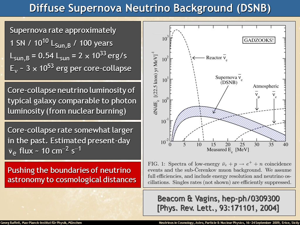 Diffuse Supernova Neutrino Background (DSNB)