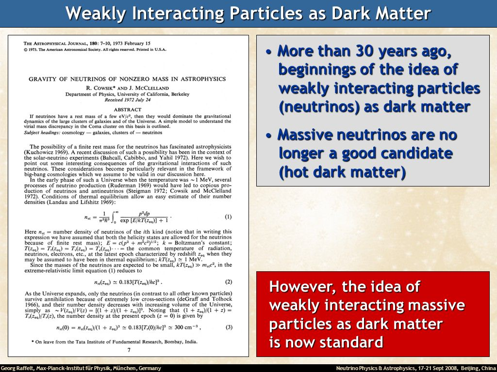 Weakly Interacting Particles as Dark Matter