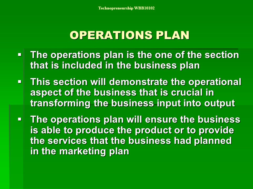 operational plan of a business plan