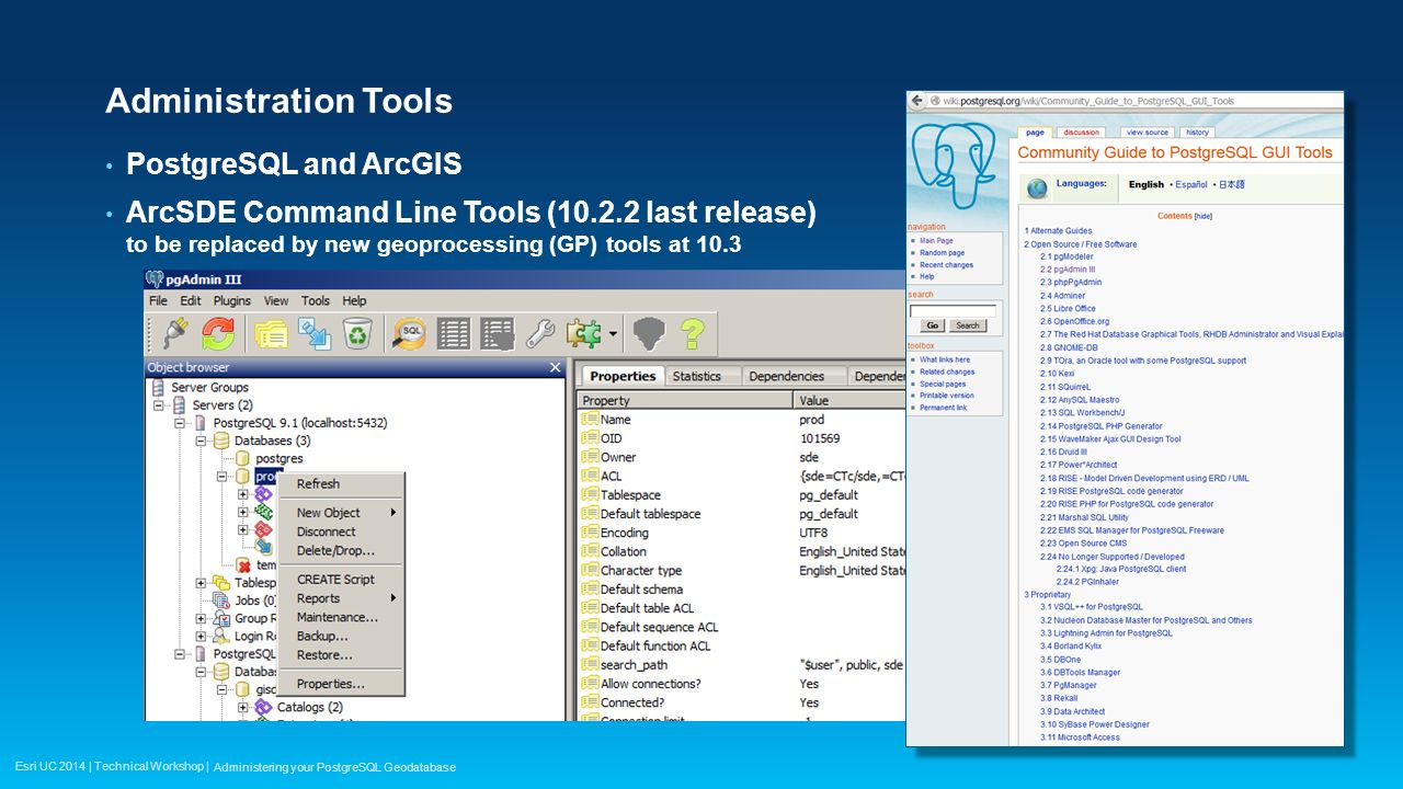 Implementing postgresql for arcgis: pointing out the elephant in.
