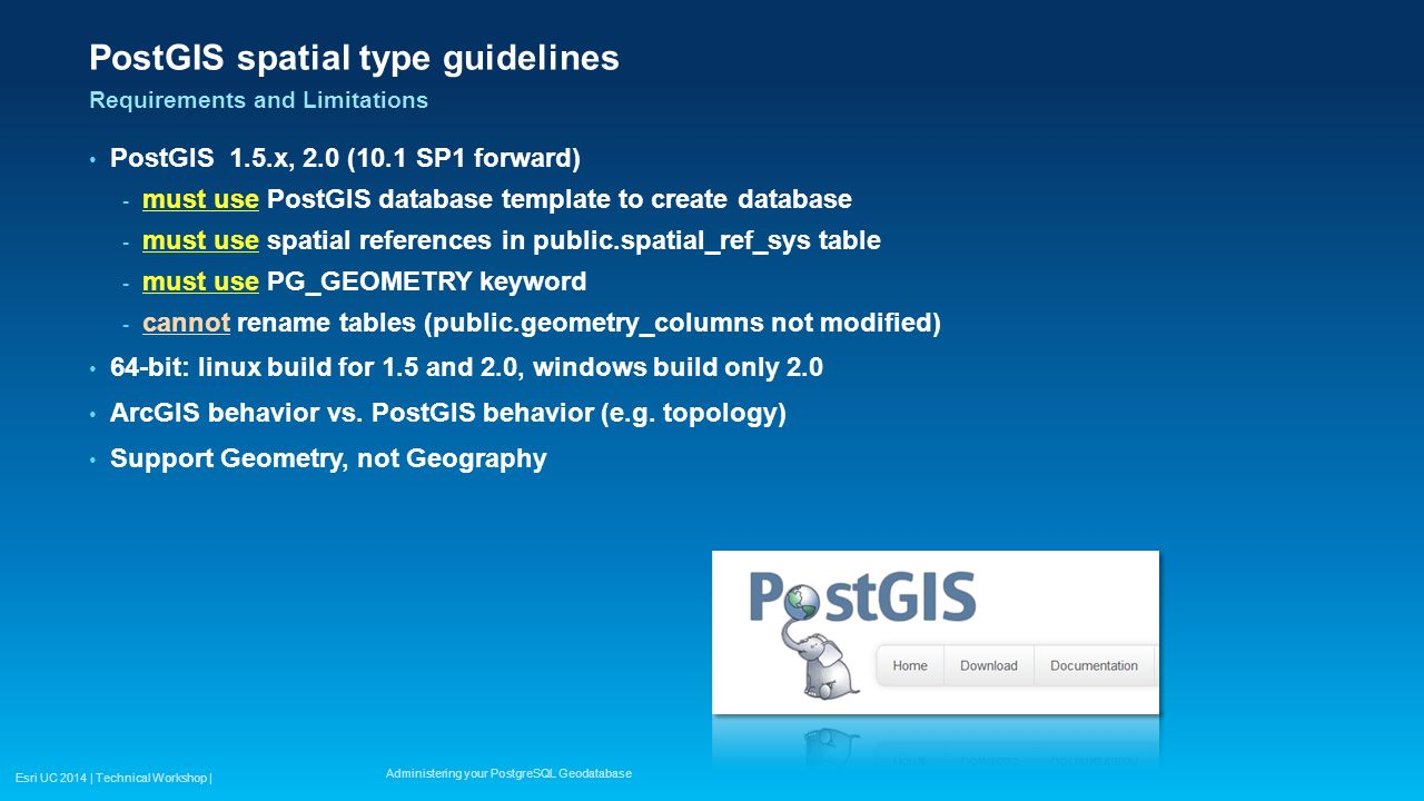 Administering your PostgreSQL Geodatabase - ppt video online