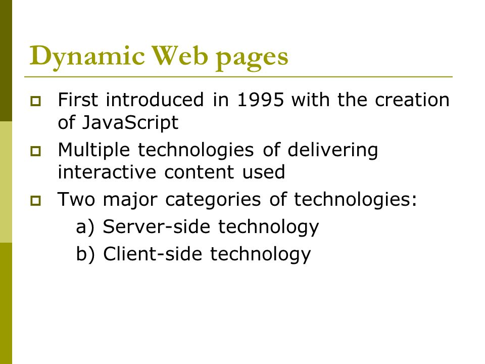 Dynamic Web Pages (Flash, JavaScript) - ppt download