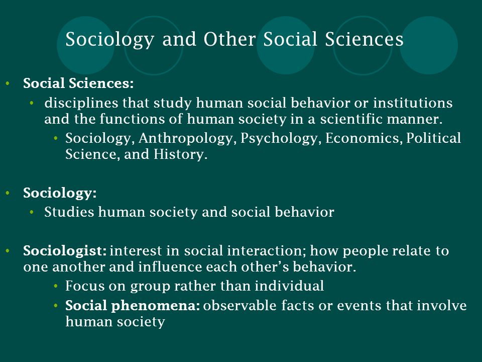 Sociology and Other Social Sciences