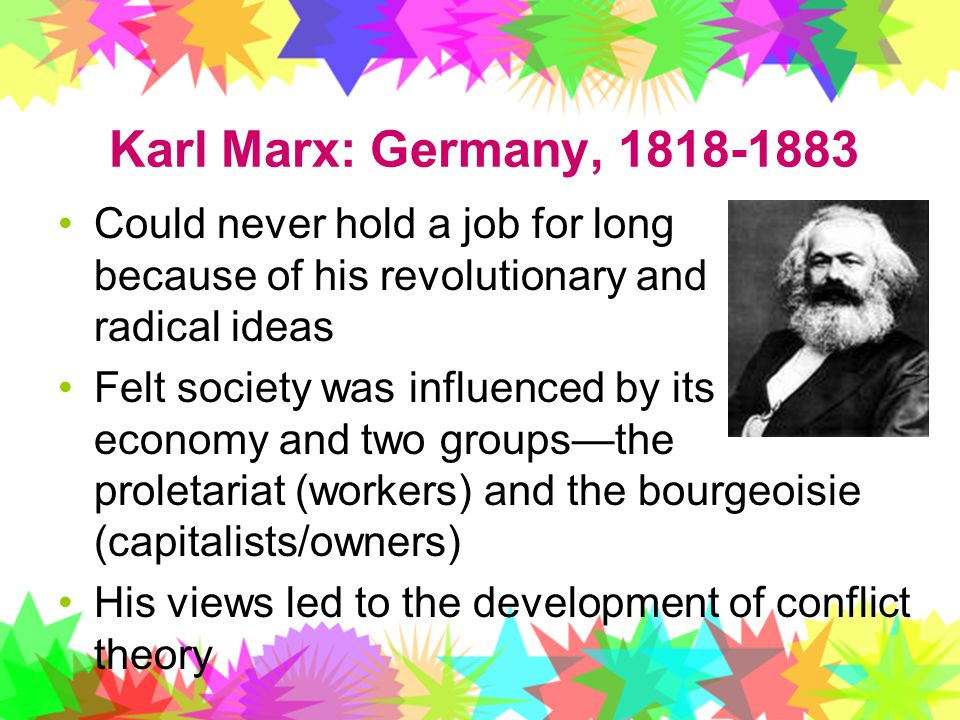 Karl Marx: Germany, Could never hold a job for long because of his revolutionary and radical ideas.