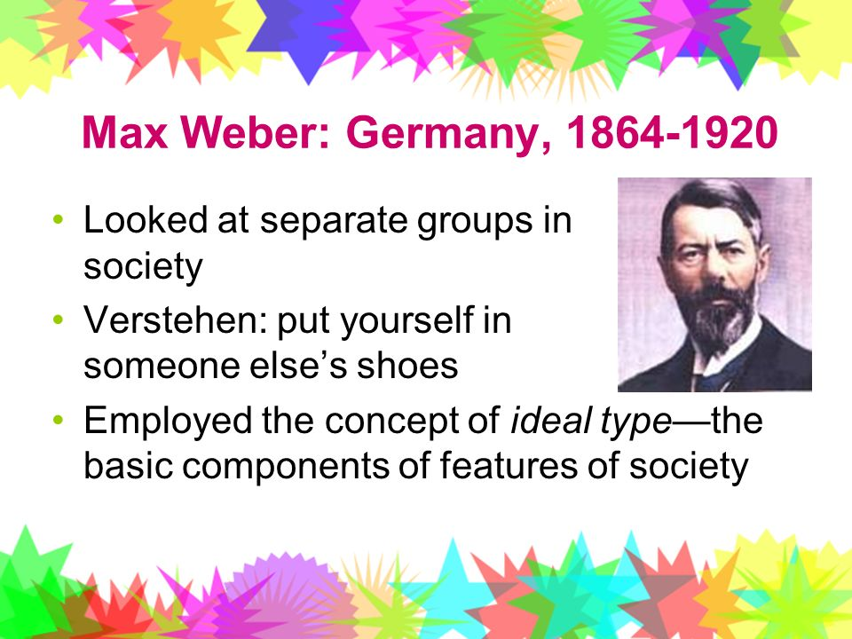 Max Weber: Germany, Looked at separate groups in society