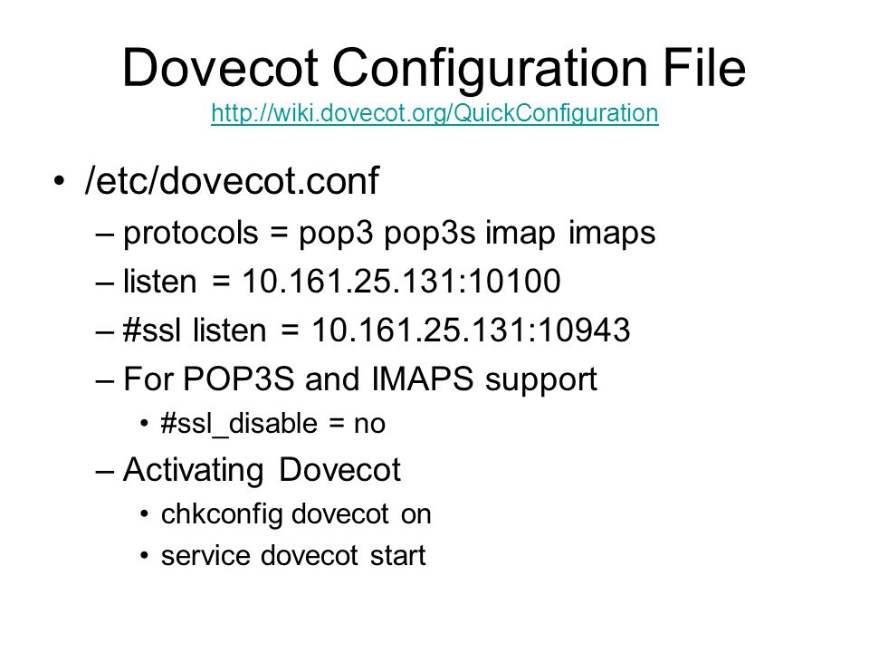 Dovecot Configuration File