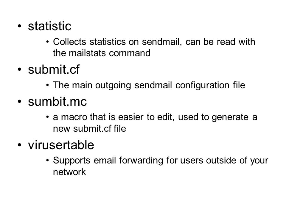 statistic submit.cf sumbit.mc virusertable