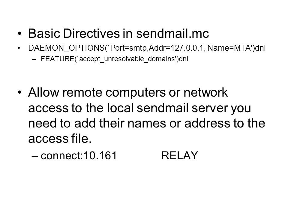 Basic Directives in sendmail.mc