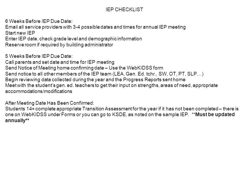 Iep ppt download 5 iep checklist spiritdancerdesigns Image collections