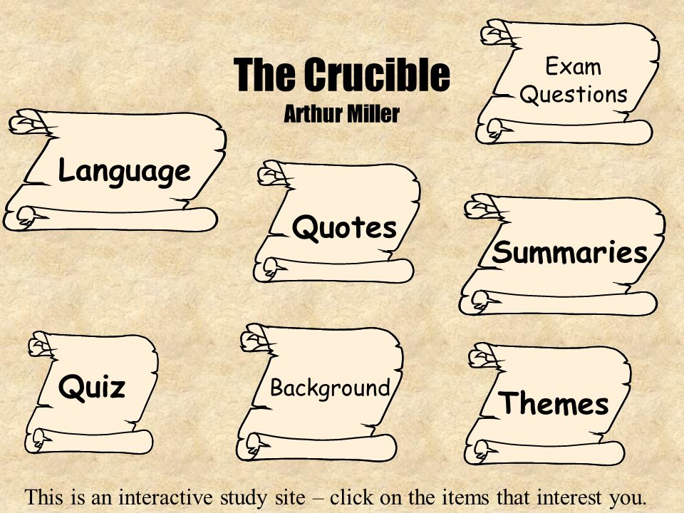 the crucible arthur miller essay questions Arthur miller's the crucible essay arthur miller's the crucible the scene of hale's first meeting with the proctors is a scene of high drama.