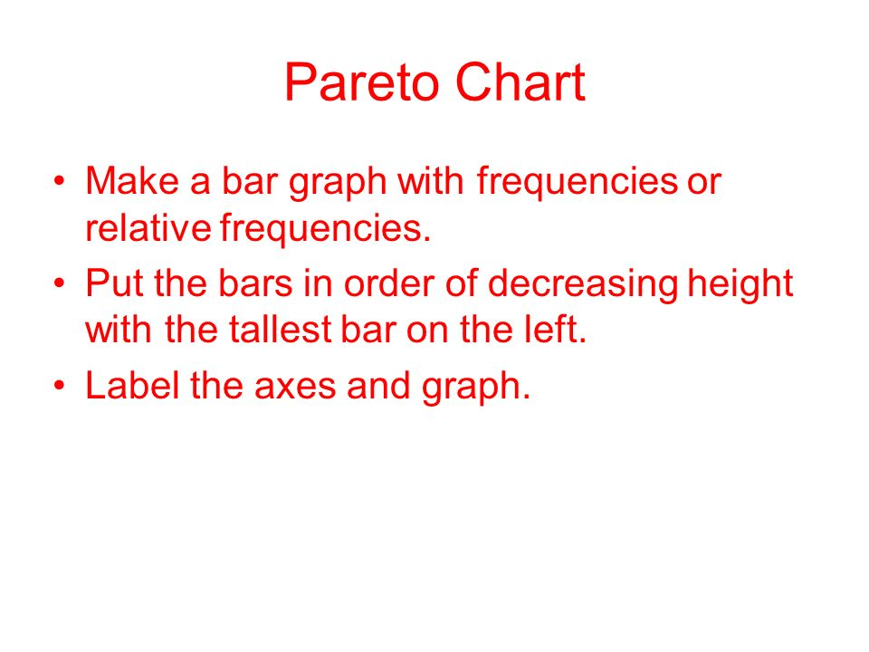 Pareto Chart Make a bar graph with frequencies or relative frequencies. Put the bars in order of decreasing height with the tallest bar on the left.