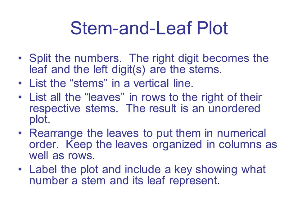 Stem-and-Leaf Plot Split the numbers. The right digit becomes the leaf and the left digit(s) are the stems.