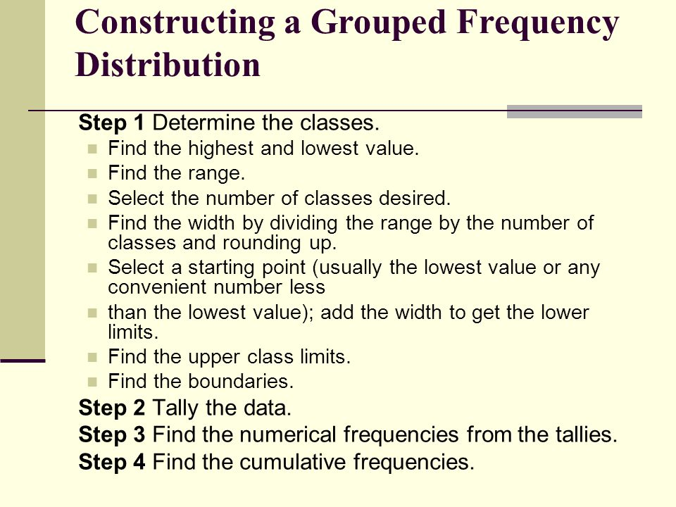steps in constructing a frequency distribution