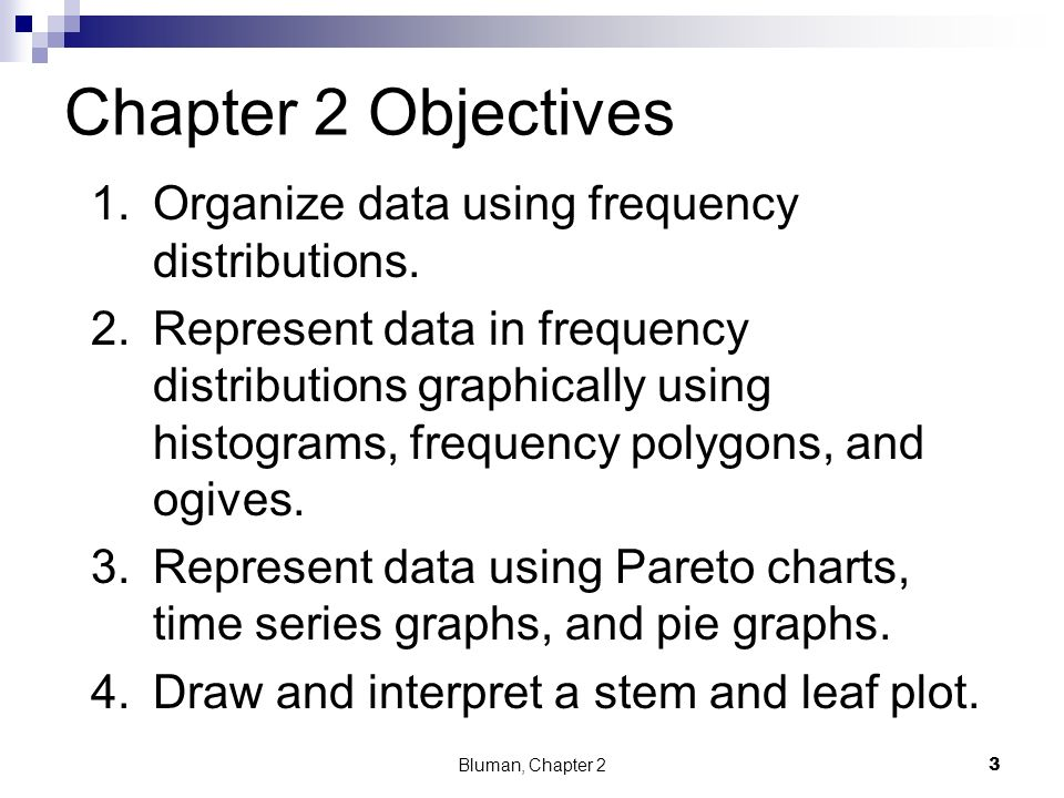 Chapter 2 Objectives Organize data using frequency distributions.