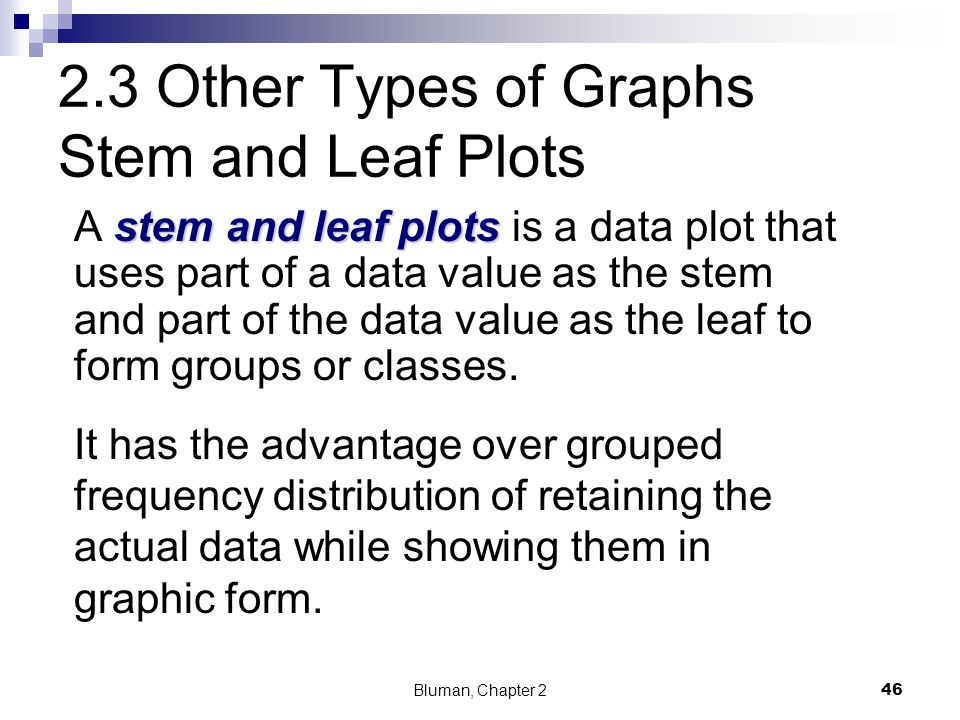 2.3 Other Types of Graphs Stem and Leaf Plots