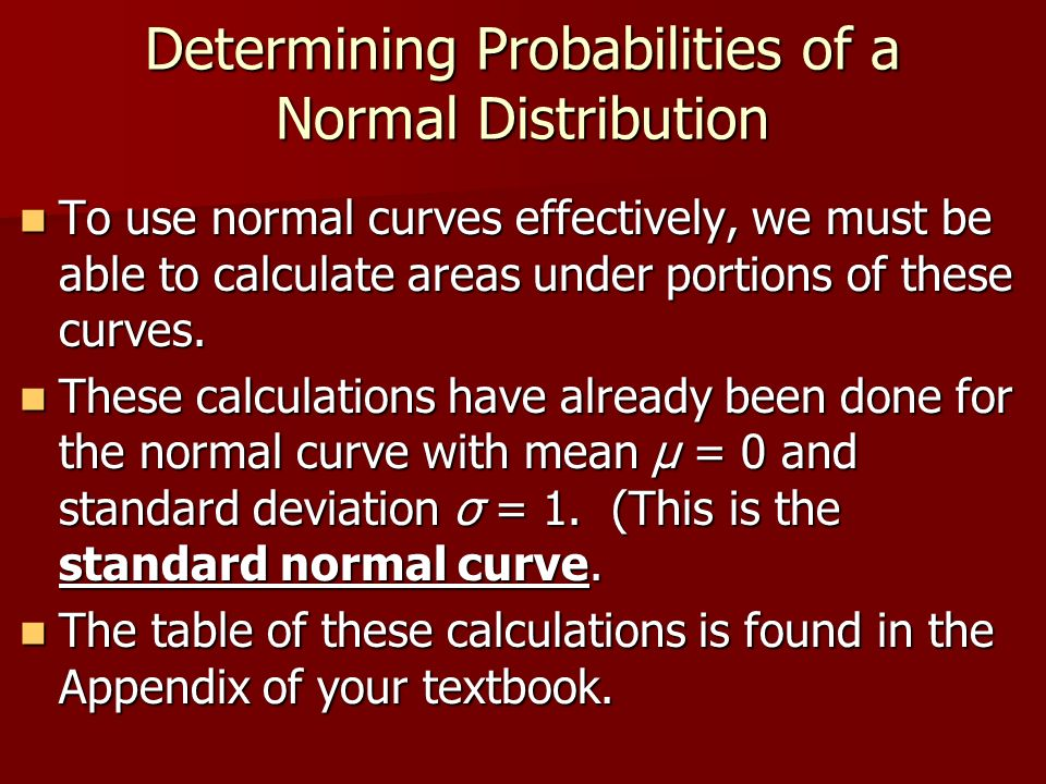 Determining Probabilities of a Normal Distribution