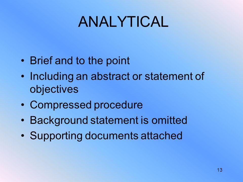 analytical brief