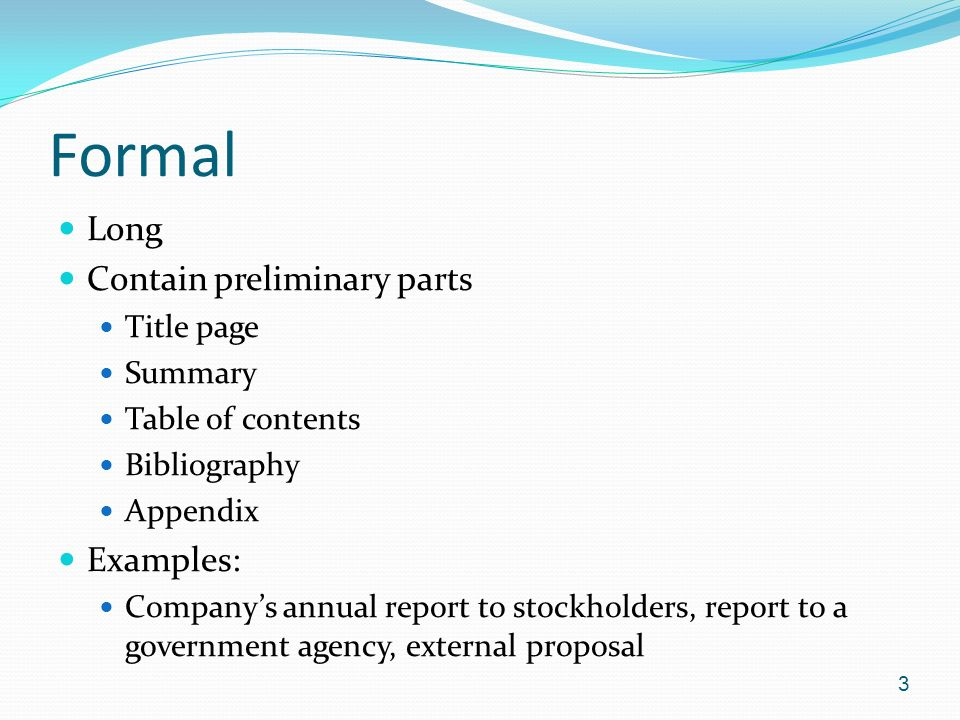 formal long contain preliminary parts examples title page summary