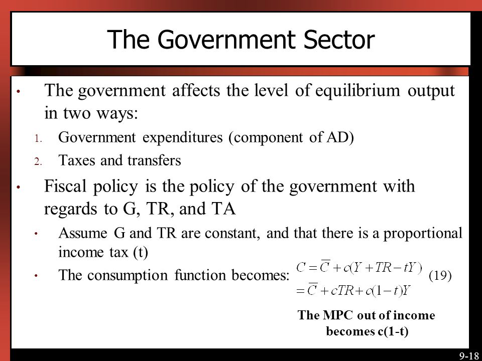 The Government Sector The government affects the level of equilibrium output in two ways: Government expenditures (component of AD)