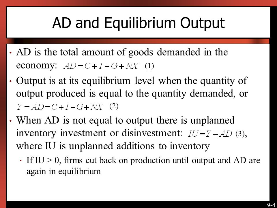 AD and Equilibrium Output