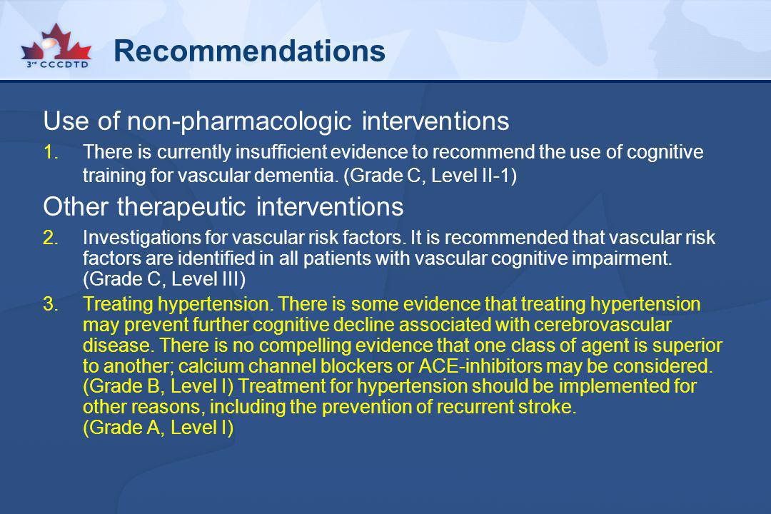 Recommendations Use of non-pharmacologic interventions