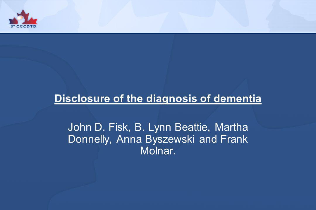 Disclosure of the diagnosis of dementia