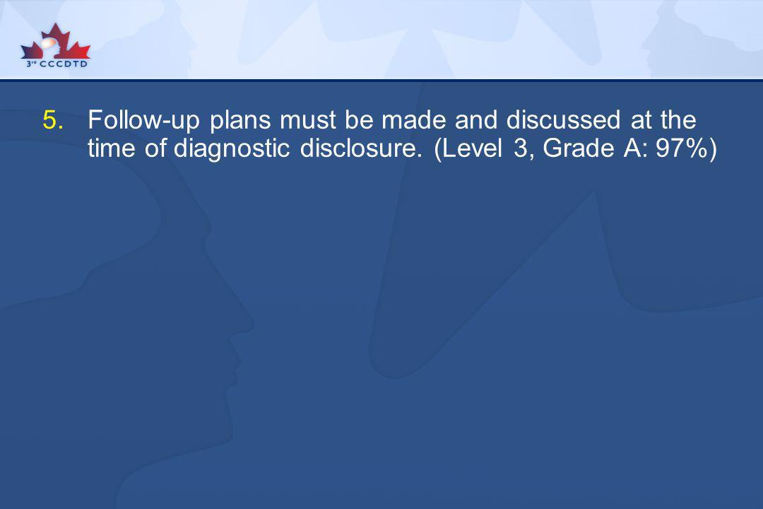 Follow-up plans must be made and discussed at the time of diagnostic disclosure.