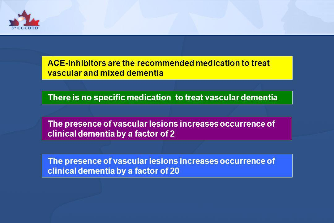 ACE-inhibitors are the recommended medication to treat vascular and mixed dementia